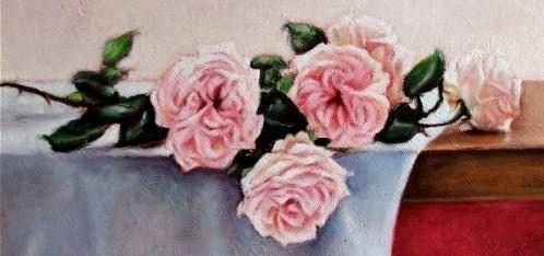 Gianfranco Castelli, rose su tavola, olio su faesite